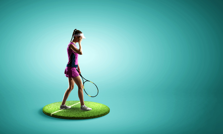 Woman tennis player on pedestal against blue background. Mixed media