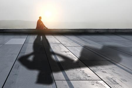 Nunca te rindas con fe en ti mismo. Técnica mixta Foto de archivo