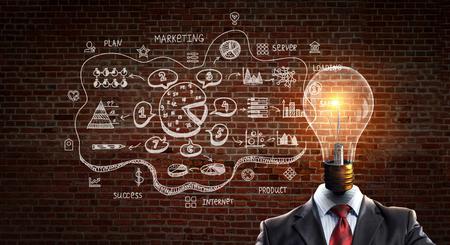 Head full of ideas. Mixed media Stock Photo