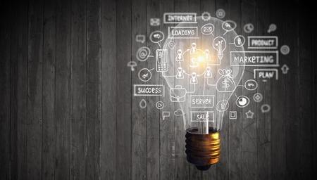 Glowing light bulb as symbol for success idea Stok Fotoğraf