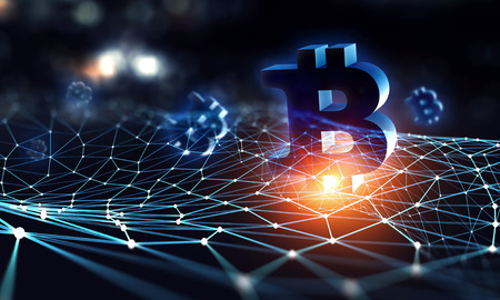 Bitcoin symbol and connection lines as concept for cryptocurrency. 3d rendering Archivio Fotografico