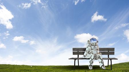 Rocketman on bench. Mixed media