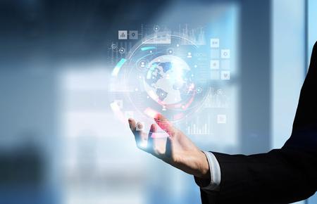 Presenting new technologies. Mixed media Stock Photo