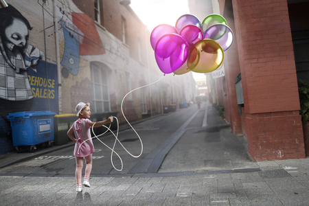 Child with balloons. Mixed media