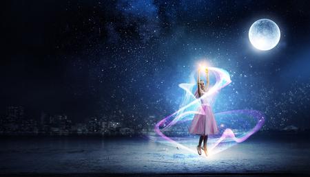 Dreaming to become ballerina. Mixed media Stock Photo