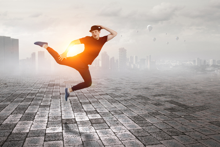 Dance is his world . Mixed media 免版税图像