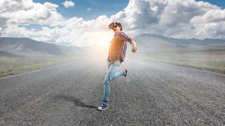 Try virtual reality. Mixed media Stockfoto