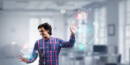 Virtual technologies as concept. Mixed media Stock Photo