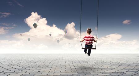 Happy careless childhood. Mixed media Фото со стока
