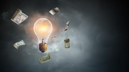 Bright idea for success. Mixed media 스톡 콘텐츠