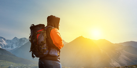 Hiker man in mountains. Mixed media Stock fotó - 118894963
