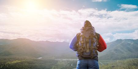 Hiker man in mountains. Mixed media Stock fotó - 118914248