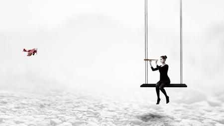 Young woman mime. Mixed media Reklamní fotografie