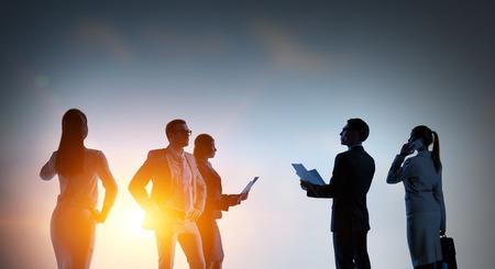 Business teamwork concept. Mixed media