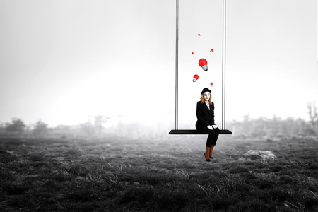 Young woman mime. Mixed media 版權商用圖片