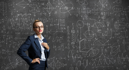 Woman teacher in glasses
