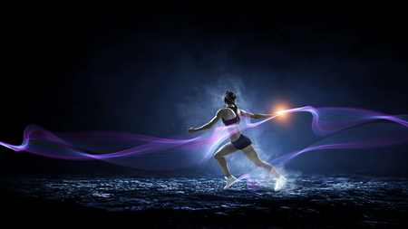 Sportswoman run race. Mixed media Banque d'images - 119224328