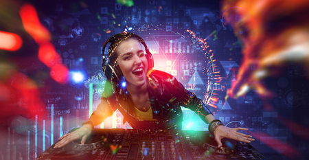 Female dj in nightclub. Mixed media Banque d'images