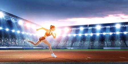 Athlete running race. Mixed media Banco de Imagens - 119494984