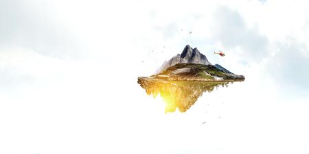 Summer mountain hills landscape and cloudy sky Banco de Imagens