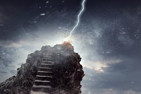 Outdoor natural stone ladder to dark sky