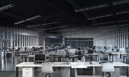 Open space office work place with no one inside
