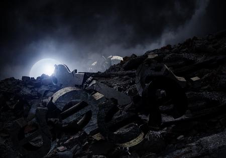 Dark grunge background with full moon in darkness