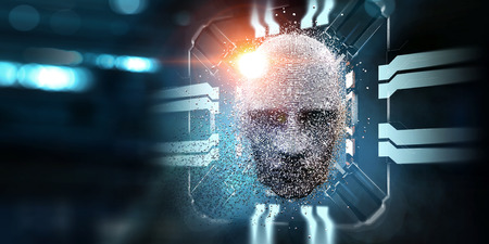 Silver digital head, artificial intelligence concept 写真素材 - 120412722