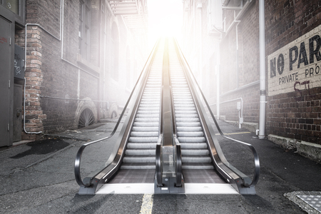 Modern double escalator in a city Imagens