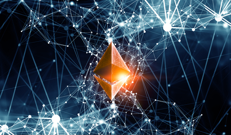 Ethereum sign with wide network 3d graph
