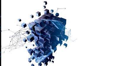 Blaue abstrakte Würfel und Netzwerkdiagramm Standard-Bild