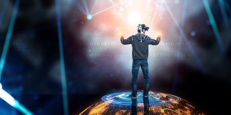 Virtual reality experience. Technologies of the future. Mixed media Stok Fotoğraf