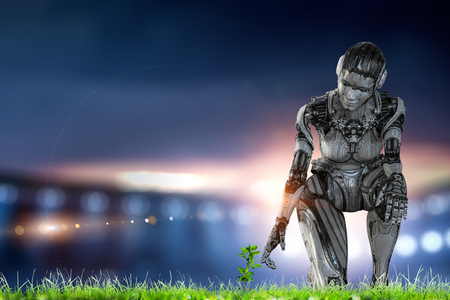 Cyborg silver woman sitting on one knee and smiling