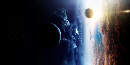Space beauty on planet orbit. Standard-Bild - 121614428