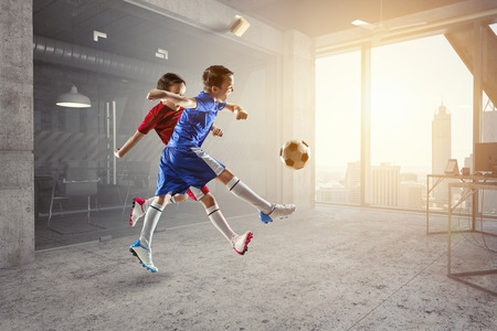 Little soccer champions. Mixed media