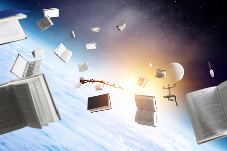 Office objects flying in space 스톡 콘텐츠