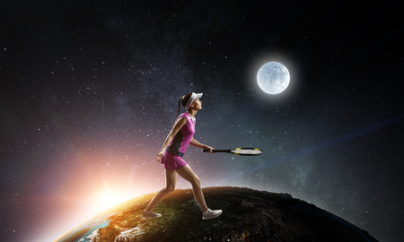 Young woman playing tennis. Mixed media