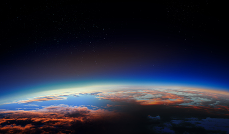 Sunrise on planet orbit, space beauty Stock Photo
