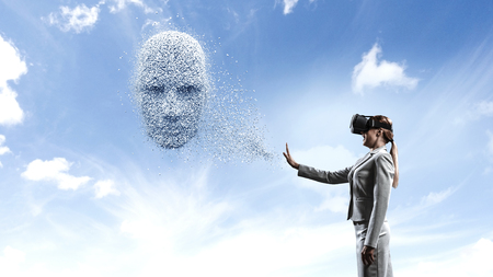 Digital head, artificial intelligence and virtual reality. Mixed media 写真素材 - 121615167