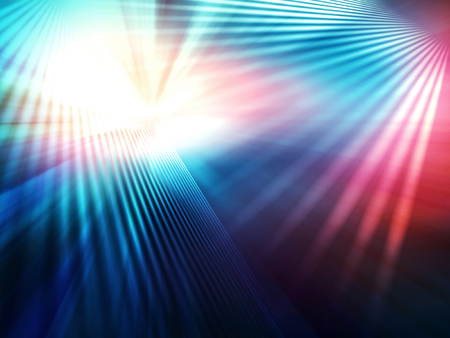 abstract geometric background of intersected planes with divergent bundles of straight colourful rays of light Stock Photo