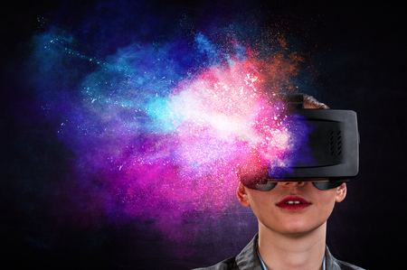 Young female in virtual reality. Mixed media Stock fotó - 121687866