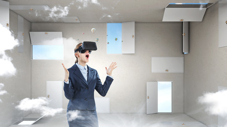 Right decision making and virtual reality. Mixed media Stock Photo