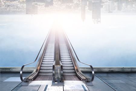 Modern double escalator with reversed cityscape background