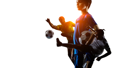 Abstract soccer theme - hottest match moments Stock Photo