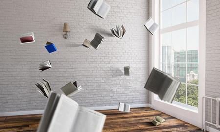 Lugar de trabajo de oficina con objetos voladores.