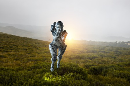 Cyborg shining silver woman running fast. Mixed media
