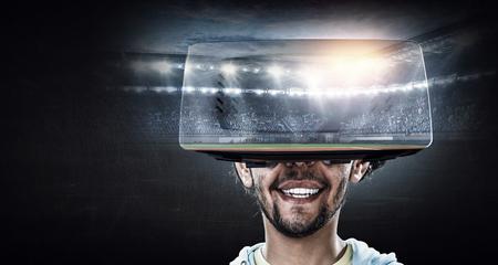 Virtual reality experience. Mixed media 스톡 콘텐츠
