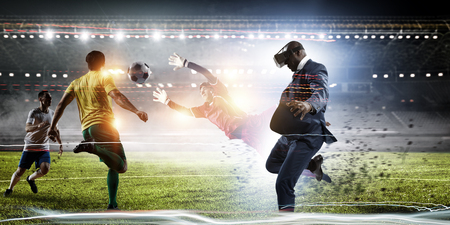 Black Man in virtual reality football match