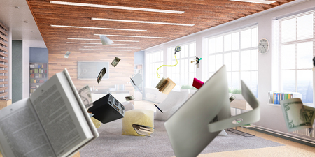 Office objects flying messy around Stock Photo