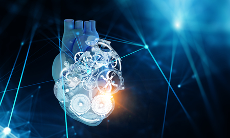 Anatomic heart made with steel gears and mechanic parts Stock Photo